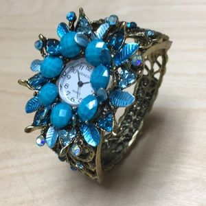 Turquoise Crystal Floral Bangle Cuff Watch